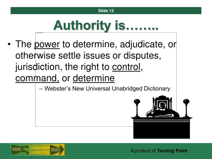 Authority is……..