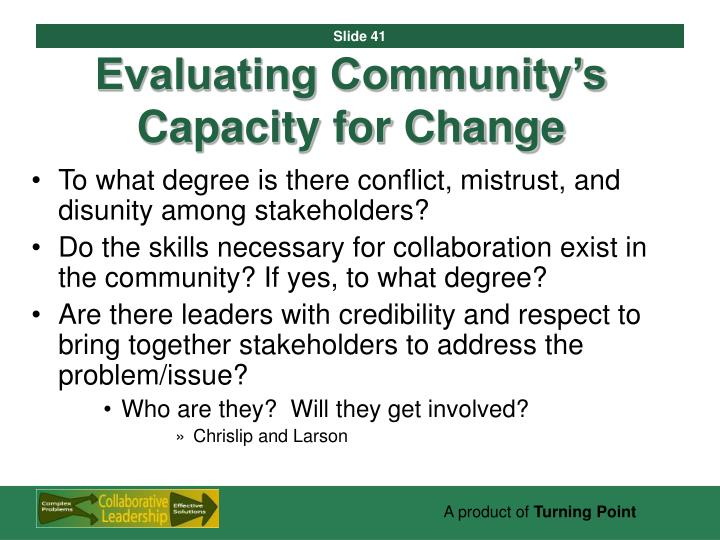 Evaluating Community's Capacity for Change