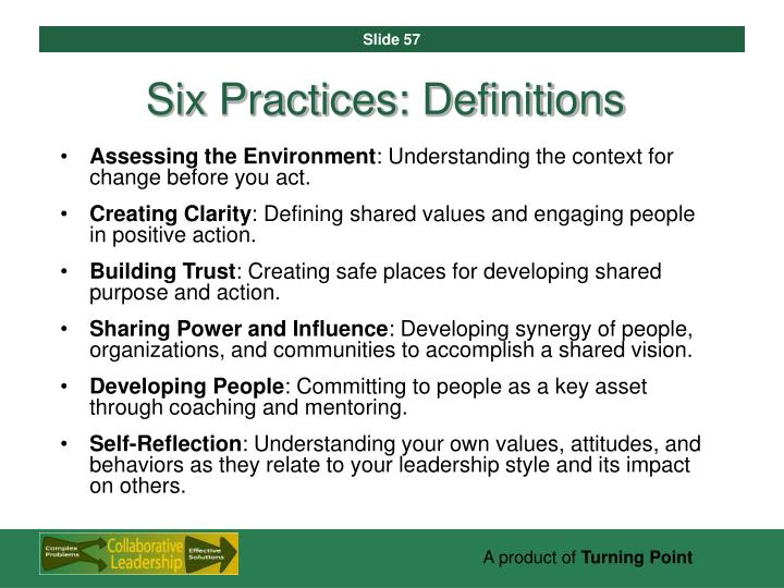 Six Practices: Definitions