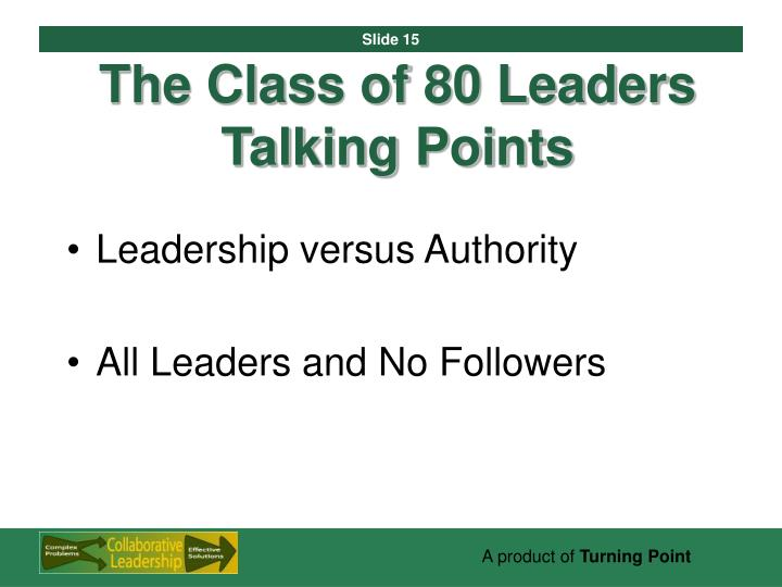 The Class of 80 Leaders