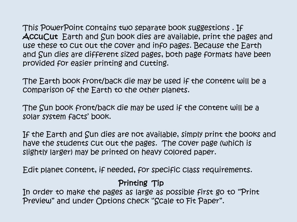 PPT - Books were created using AccuCut Sun & Earth Book