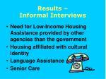results informal interviews