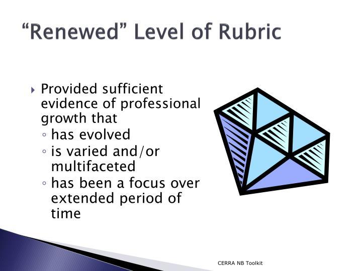 """""""Renewed"""" Level of Rubric"""