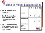 rollout of model lessons units