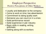 employer perspective positive perceptions of older workers