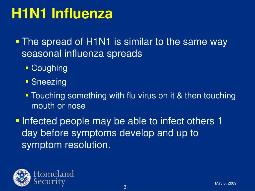 The spread of H1N1 is similar to the same way seasonal influenza spreads