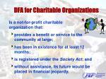 dfa for charitable organizations