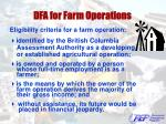 dfa for farm operations