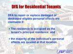 dfa for residential tenants