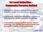 for local authorities community recovery defined