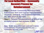 for local authorities community recovery process for reimbursement