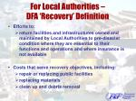 for local authorities dfa recovery definition