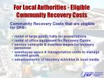 for local authorities eligible community recovery costs