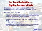 for local authorities eligible recovery costs