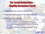 for local authorities eligible response costs