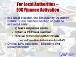 for local authorities eoc finance activation