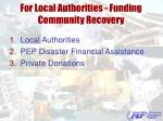 for local authorities funding community recovery