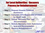 for local authorities recovery process for reimbursement