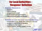 for local authorities response definition