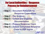for local authorities response process for reimbursement