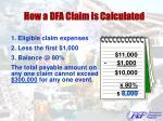 how a dfa claim is calculated