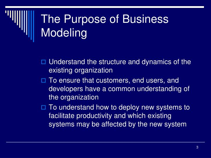 The purpose of business modeling