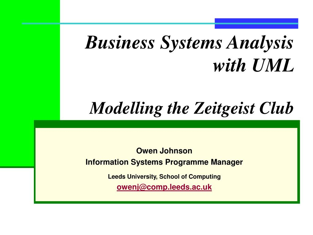 business systems analysis with uml modelling the zeitgeist club l.
