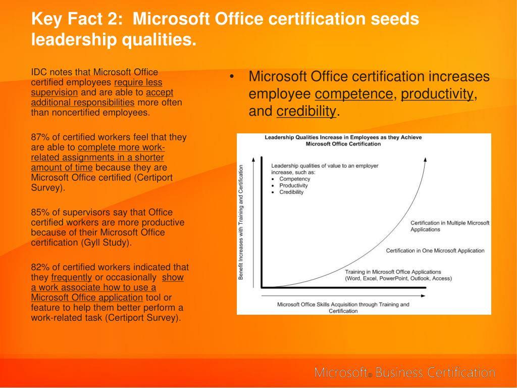 Key Fact 2:  Microsoft Office certification seeds leadership qualities.