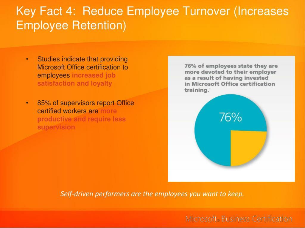 Key Fact 4:  Reduce Employee Turnover (Increases Employee Retention)