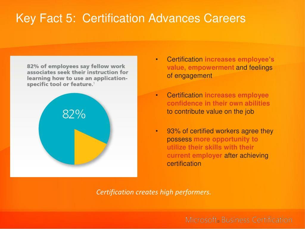 Key Fact 5:  Certification Advances Careers