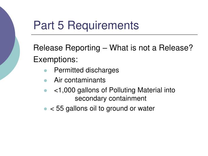Part 5 Requirements
