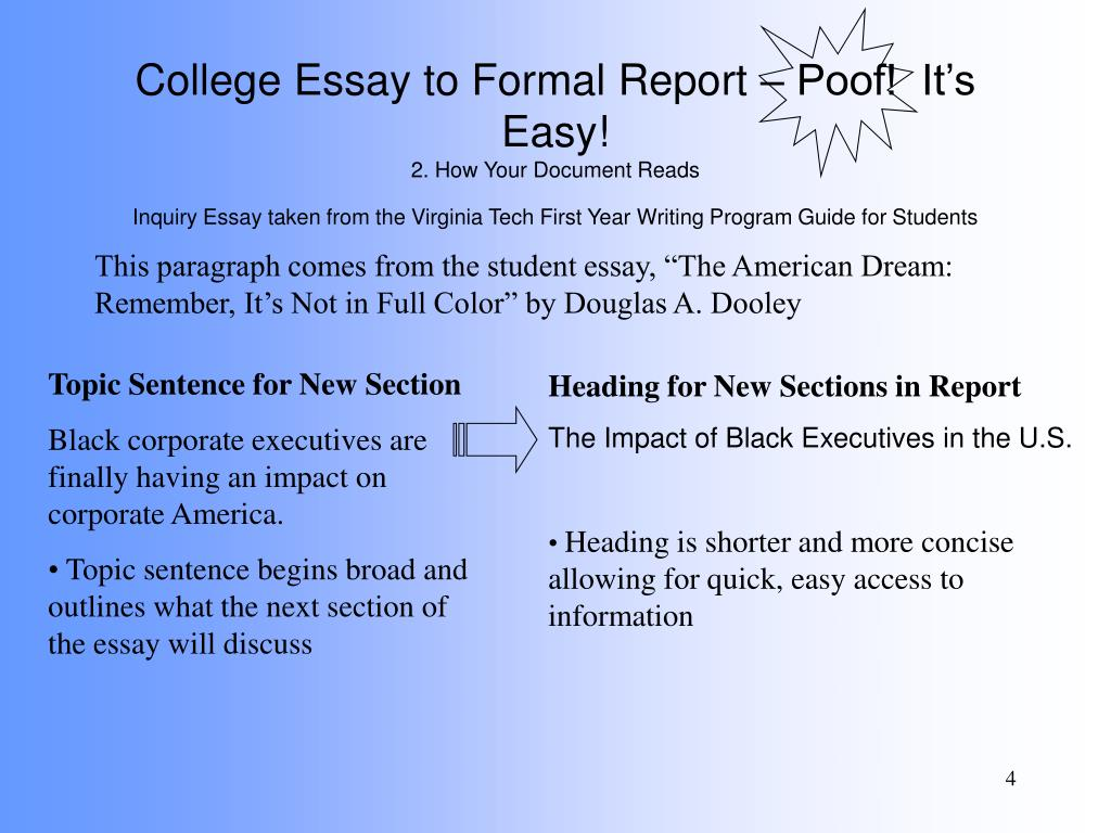 Argumentative Essay Topics For High School  Independence Day Essay In English also Essay About Healthy Food Ppt  College Essay To Formal Report  Poof Its Easy  Essay On English Literature