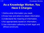 as a knowledge worker you have 5 charges