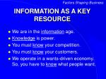 information as a key resource