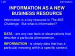 information as a new business resource