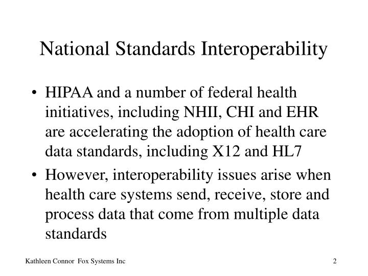 National standards interoperability