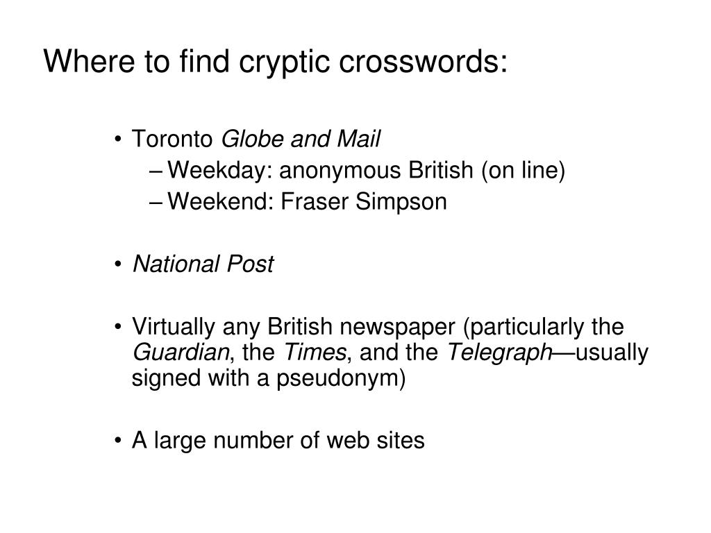 Where to find cryptic crosswords: