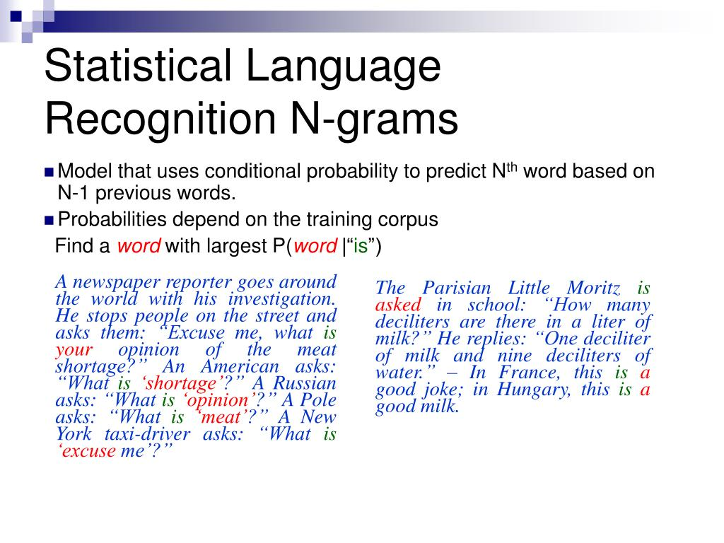 Statistical Language Recognition N-grams