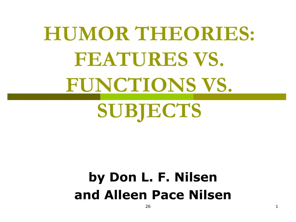humor theories features vs functions vs subjects l.