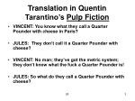 translation in quentin tarantino s pulp fiction