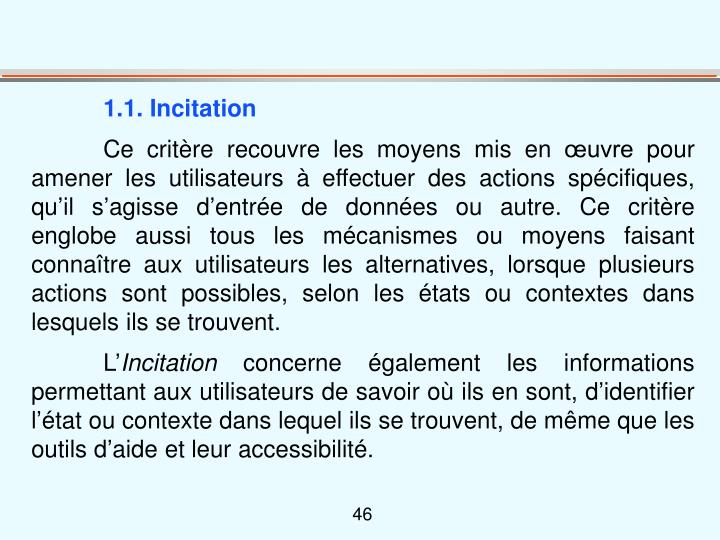 1.1. Incitation