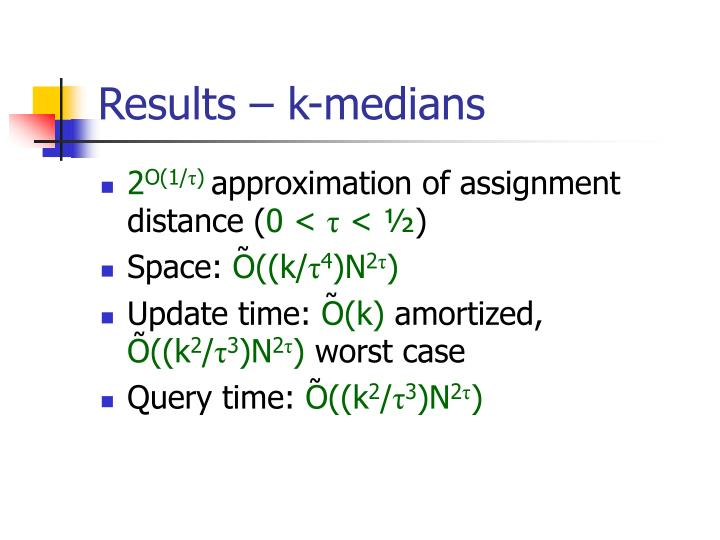 Results – k-medians