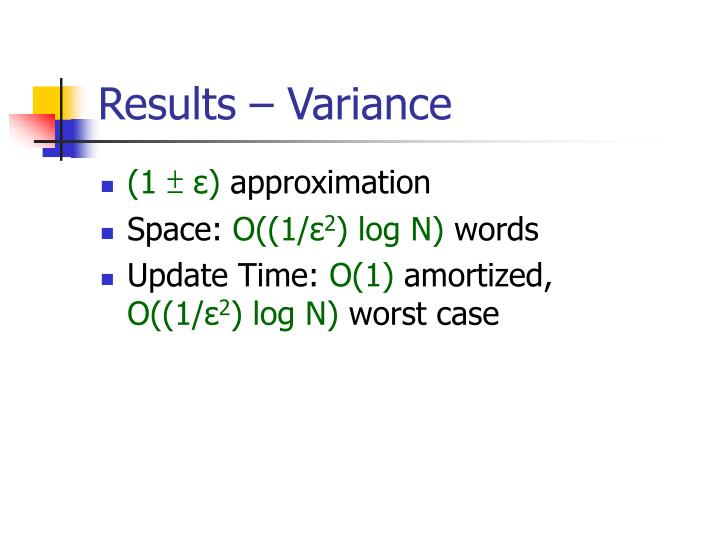Results – Variance