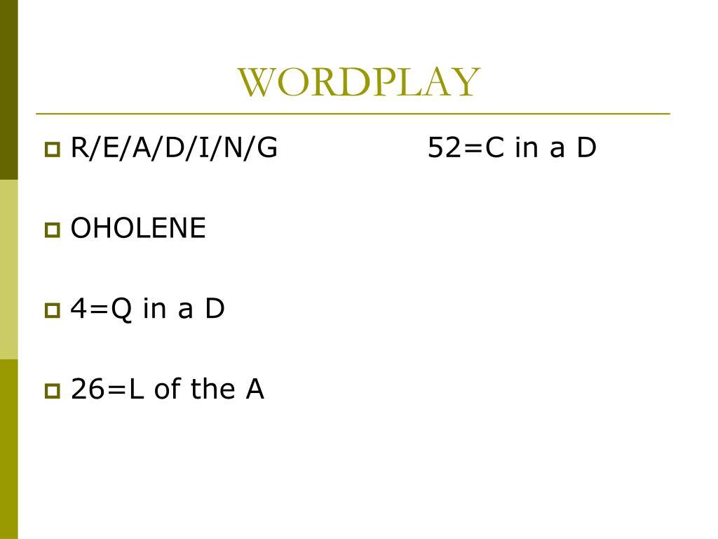 wordplay l.