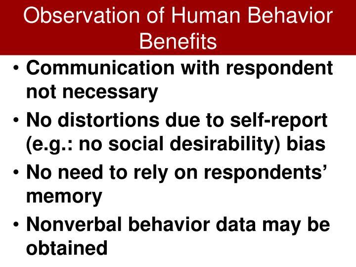 Observation of Human Behavior