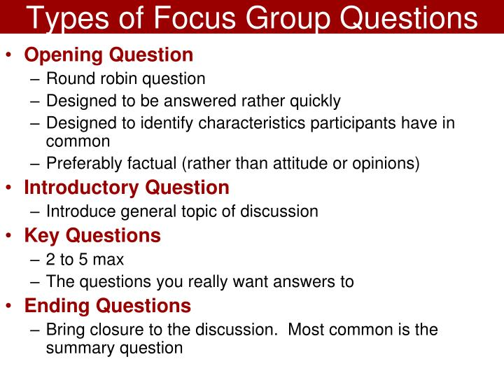 Types of Focus Group Questions