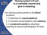 hearing system s 1 job is to t ranslate sound and give it meaning