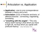 articulation vs application