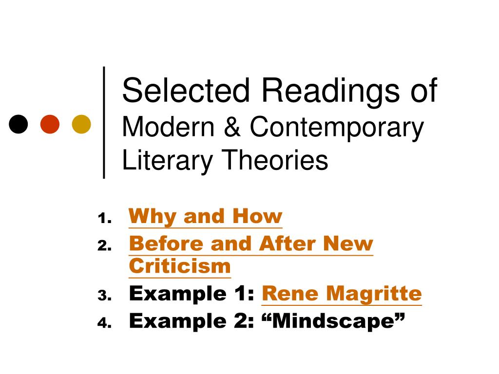 selected readings of modern contemporary literary theories l.