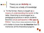 theory as an activity vs theory as a body of knowledge